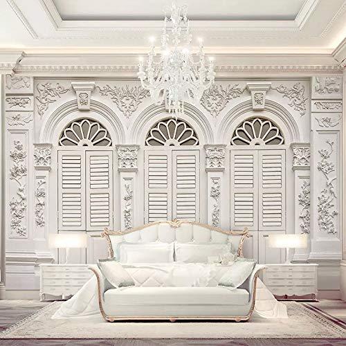 Fototapete 3D Einfach Weiß Europäischen Stil Fototapeten Wohnzimmer Schlafzimmer Luxus Dekor Passen Sie Jede Größe(W)500X(H)320Cm (Orientalischen Stil Wohnzimmer Im Dekor)