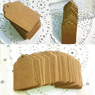 AUAUDATE 100pcs Rectangle/Heart Paper Wedding Party Gift Card Label Blank Luggage Tags (Coffee Rectangle)