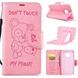 Ekakashop Magnetic Flip Cover for Motorola G5,Cute Funny Little Bear Embossing Wallet Case with Hand Strap for Moto G5, Pretty Pu Leather Women&Men General Folio Style Colorful Wallet Case with Card Slots for Motorola Moto G5 with Kickstand (Colors Random) -- Pink
