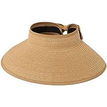 Leisial Mujer Sombrero Sol Gorro Ancho De Sol Color Sólido Diseño Elegante Del Bowknot Casquillo De Paja Vacie Visera Casquillo De Playa Verano Plegable Respirable Anti-UV Rojo