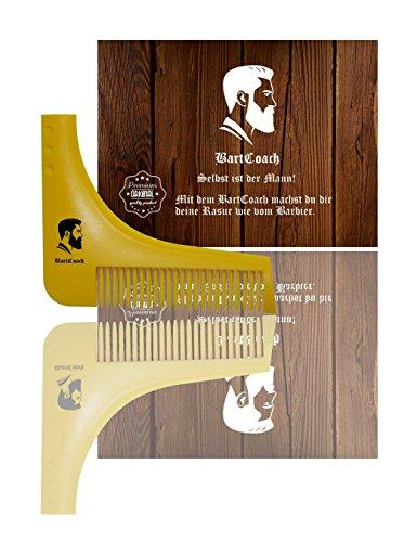 NUR KURZE ZEIT REDUZIERT BartCoach Bart-Schablone | Bart styling Tool | Bartkamm für deine Bartpflege | perfekte Rasur der Bartlinie | Rasierschablone | Premium Qualität Test