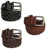 Paul.hide Cintura Uomo Donna Made in Italy Fatta A Mano Pelle Intrecciata Cuoio Intrecciato Altezza 3,5 cm (Marrone Scuro, Tg.44/Misura Totale 95 cm)