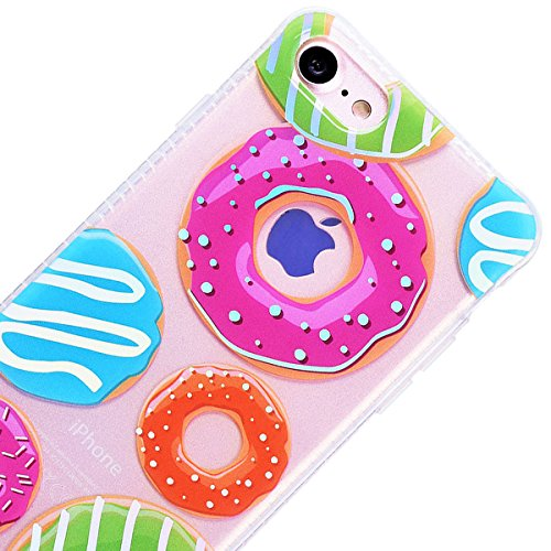 Custodia iPhone 7/iPhone 8, GrandEver Flessibile Ultra Slim Trasparente Gel TPU Silicone Anti Graffio Anti Scossa Anti Scivolo Protettiva Bumper Cover Case per iPhone 7/iPhone 8 - Foglia di albero Donuts