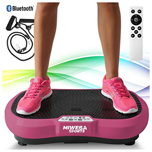 Miweba Sports Fitness 2D Vibrationsplatte MV100-3 multidimensionale Vibrationszonen - Oszillierend - 250 Watt (Pink)