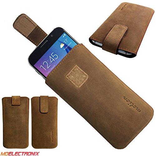 MX ECHT LEDER BRAUN Slim Cover Case Schutz Hülle Etui Tasche für Switel Sunny Turbo S53D