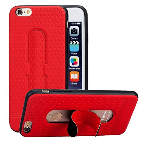 Phone Case & Hülle Für IPhone 6 & 6s, 3D Texture Faltbarer unsichtbarer Halter TPU + PC Kombinationsfall mit Halter ( Color : Blue ) Red