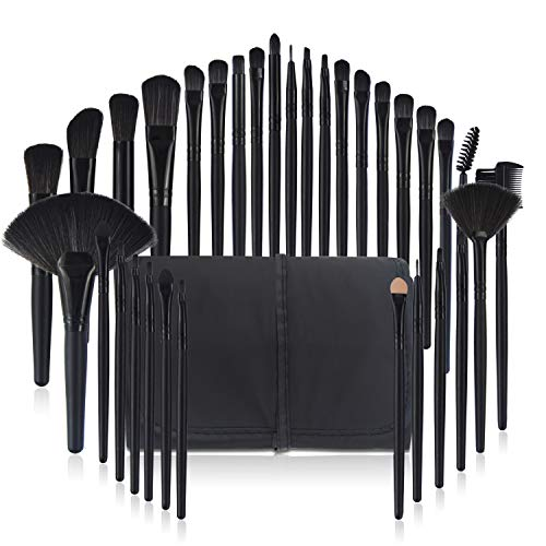 Make Up Pinsel Set Professionelles 32 pcs, Kosmetikpinsel Foundation Gesicht pinsel Augen pinsel Lippen pinsel Lidschatten Brush with schwarze Nylon tasche (32er in Black) -
