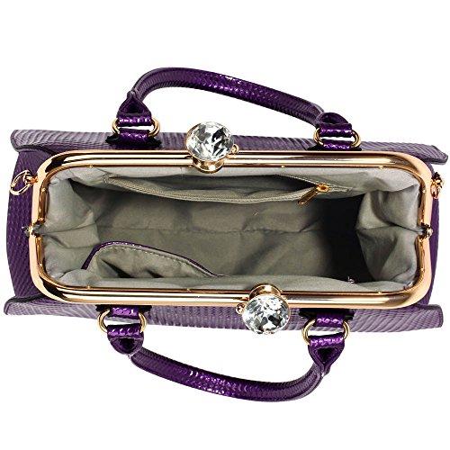 Trend Star Ladies Handbags Women's Designer Bags celebrity Leatherette Patent Tote Bag A - Lila