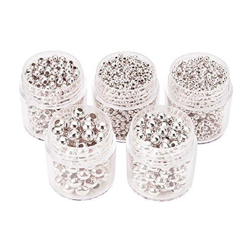 Pandahall,5 Cajas Abalorios espaciador redondas de hierro, plata, 2~5 mm, agujero: 1~2 mm