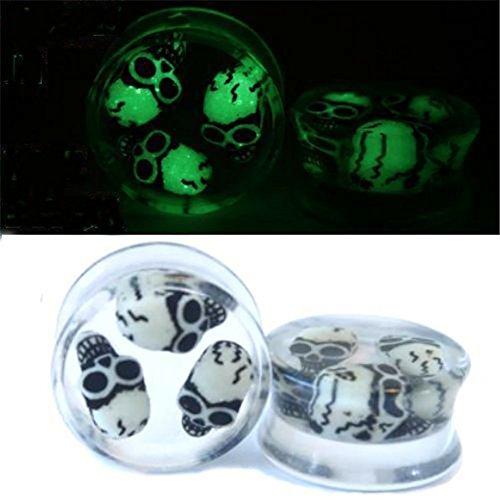 skgardeniamy 8-20mm Luminous Schädel Ohr Expander Flesh Tunnel Acryl Ohr Piercing Schmuck Geschenk Halloween Size 12mm