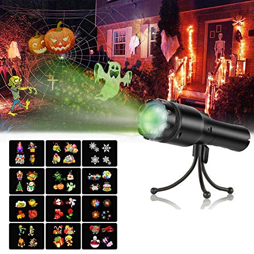 Luces Proyector Navidad LED, SendowTek Proyector Halloween Lámpara de Proyección Juguete para Niño con 12 Diapositivas y Trípode, Lámparas Decoradas Exterior para Navidad/Halloween/Fiesta/Festivales