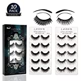 False Eyelashes - 10 Pair Multipack Natural 3D...