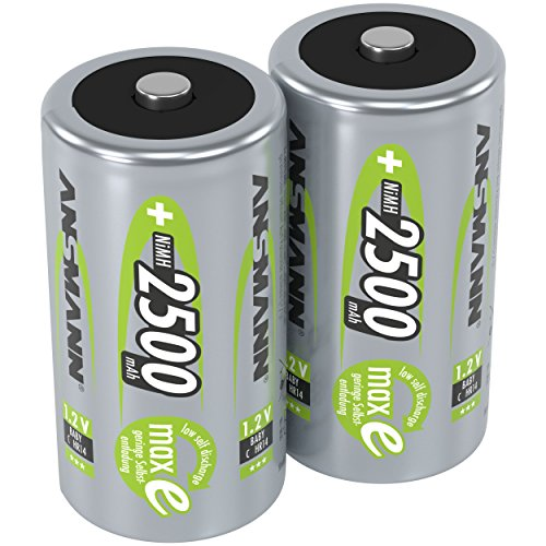 ANSMANN Akku Batterien Baby C 2500mAh 1,2V - Wiederaufladbare Batterien C NiMH mit geringer Selbstentladung & hoher Langlebigkeit - maxE Akkus ideal für Spielzeug Taschenlampe Radio uvm - 2 Stück