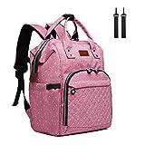 Kono Baby Wickelrucksack Wickeltasche Rucksack Große Kapazität Babyrucksack Reisetasche Reiserucksack für Unterwegs (Rosa)