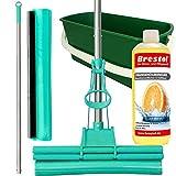 Green Mop Set 40-03 - Green Mop 40 cm + Stiel + Ersatzschwammm + 20 Liter Leifheit Eimer Combi XL + 1000 ml Orangenölreiniger Konzentrat - Doppelwringer Mop saugstarker WischMop PVA Bodenwischer