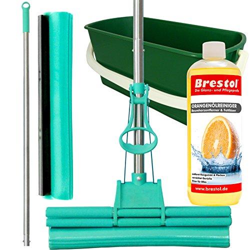 GREEN MOP Set 40-03 - Green Mop 40 cm + Stiel + Ersatzschwammm + 20 Liter Leifheit Eimer in grün + 1000 ml Orangenölreiniger Konzentrat - Doppelwringer Mop saugstarker Wischmop PVA Bodenwischer