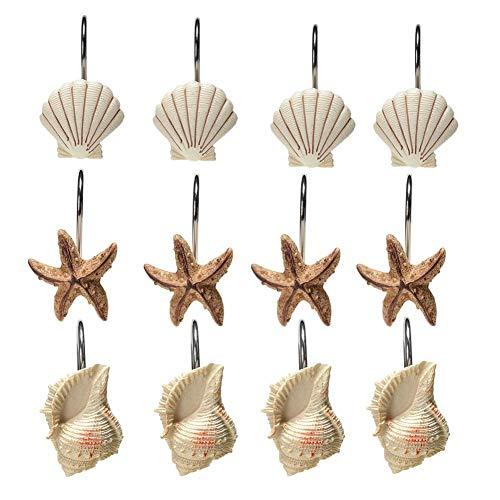 Surethingz Creative Duschvorhang Haken, 12Dekorative Seashell Seastars Haken für Badezimmer, Baby, Schlafzimmer, Wohnzimmer Decor (Seashell: Braun; Seestern: Hellbraun; Conch: Licht Braun)
