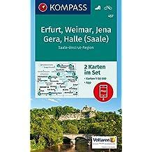 Erfurt, Weimar, Jena, Gera, Halle (Saale): 2 Wanderkarten 1:50000 im Set inklusive Karte zur offline Verwendung in der KOMPASS-App. Fahrradfahren. (KOMPASS-Wanderkarten, Band 457)