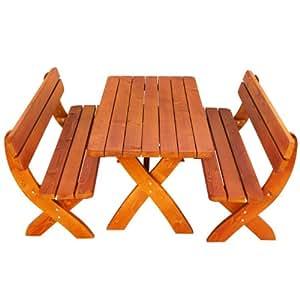 Ultranatura Gartenmöbelset Bilbao - 2 Bänke / 1 Tisch aus Massiv-Fichtenholz, imprägniert