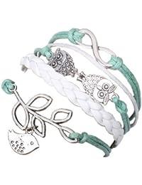 Handmade Vintage-Infinity-Silber 8 Blatt Eule Vogel-Leder-Armband-Armband mit Geschenk-Box von Boolavard ® TM