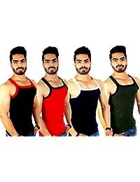 ZIMFIT Men's Cotton Gym Vest Pack of 4 (111) - (Black_Red_Royal_Green)