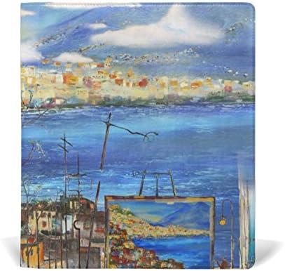 ALAZA Naples Italie Ville Ville Ville et Montagne Paysage Peinture en cuir réutilisable Couverture de livre 9 x 11 pouces pour moyen à la taille Jumbo Relié Livres scolaires Femmeuels scolaires B078XGPC1J | Stocker  e8b0e9
