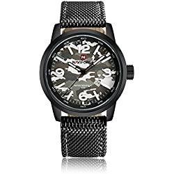 Qingmei NaviForce Men Military Analog Quartz Date Camouflage Round Dial Canvas Band Watch White
