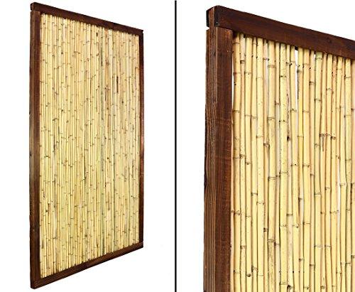 Bambus Element KohSamui Klassik 180x120cm, dunkler Rahmen mit Bambusrohr Füllung - Sichtschutzwand Sichtschutzelement Sichtschutz Gartenzaun Zaunelement Sichtschutzwände Gartenzäune