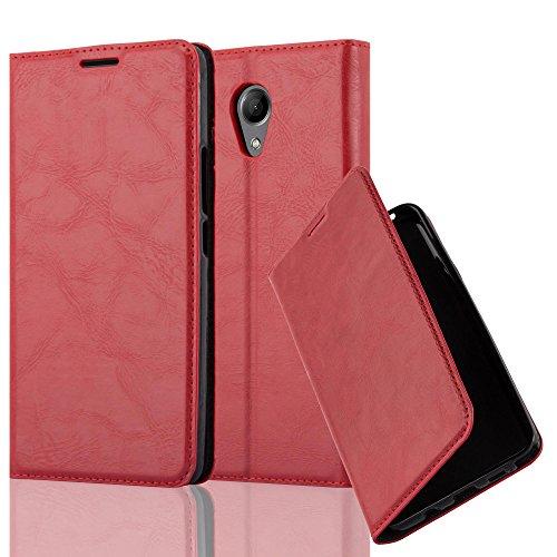 Cadorabo Hülle für Wiko U Feel LITE - Hülle in Apfel ROT – Handyhülle mit Magnetverschluss, Standfunktion und Kartenfach - Case Cover Schutzhülle Etui Tasche Book Klapp Style
