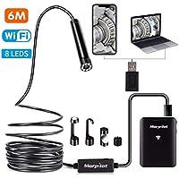 morpilot WiFi Endoscopio, Wireless Periscopio Impermeabile con 8 luci LED Telecamera di Ispezione 2.0 Megapixel HD 1200P Snake Camera per Android e iOS Smartphone, iPhone, Samsung, Tablet - 6M Cavi