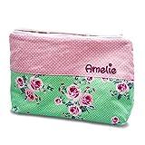 Kosmetikbeutel groß Rose Rosen, Rosenbeutel, kleine Geschenke, Geschenke mit Namen, Kulturtasche Damen