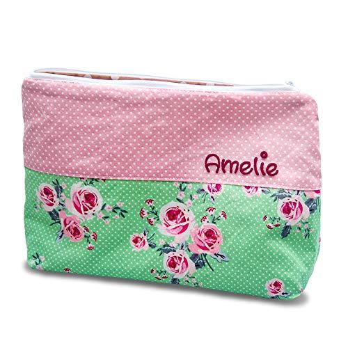 Kosmetikbeutel groß Rose Rosen, Rosenbeutel, kleine Geschenke, Geschenke mit Namen, Kulturtasche Damen - Wickeltasche Personalisierte Große