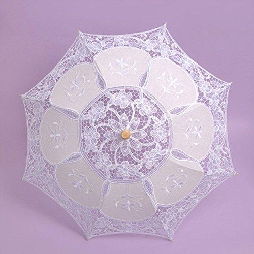 Kicode Cordón Paraguas boda paño de arte floral nupcial verano parasol vintage algodón de bambú dama de honor