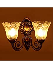 Prop It up Portuguese Style Antique Golden Wall lamp with 2 Lamp Shades, Gold (Double Wall Light)