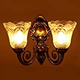 #3: Sfl Antique Look Portuguese Style Double Lamp Wall Light/ Decorative Lamp / Wall Hanging Light (27cmx27cmx13cm),Brown Antique