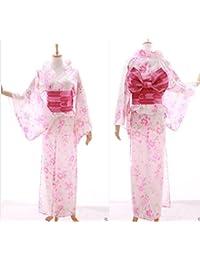 Kawaii-Story K-024 Weiß Rosa Schmetterling Blumen Original Traditionell Japan Damen Kimono Yukata Obi Gürtel Baumwolle