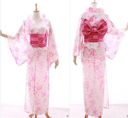 Kawaii-Story K-024 weiß rosa Schmetterling Blumen ORIGINAL traditionell Japan Damen Kimono Yukata Obi Gürtel Baumwolle - Kimono Obi Gürtel