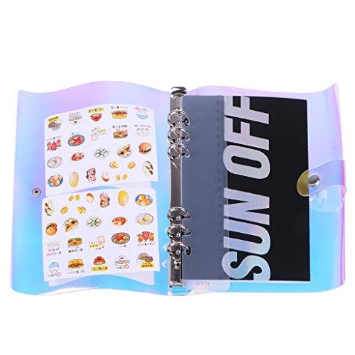 Yofo 6Löcher Rainbow transparent weich-PVC-Notebook rund Ring Binder Cover Protector Loose Leaf Ordner mit Druckknopfverschluss, A5A6Größe (Innen Papier Nicht im Lieferumfang enthalten) A5 (Runde Ring Binder)