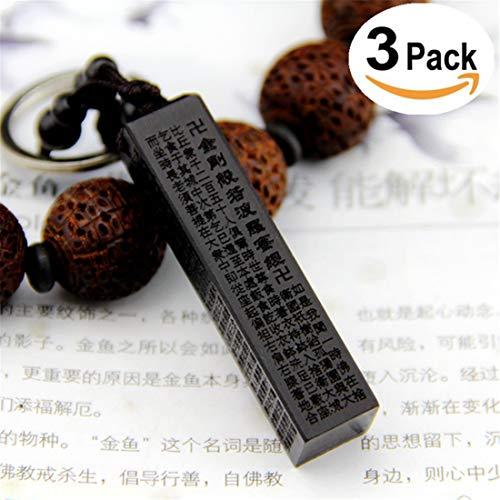 Auto Schlüsselanhänger Dekoration Buddhistische Schriften Carving - Hängende Ornamente Accessoires Für Tasche Handtasche Schlüsselanhänger, 3 Pack