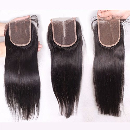 Andria Hair Three Part 3 Part Straight Lace Top Closure Bleached Knots 100% Virgin Remy Human Hair with Unprocessed Natural Black Color 4*4 Lace Closure 10\