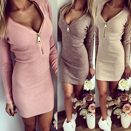 ISASSY - Mini Robe - Femme - Manches Longues - Zip - Moulante - Col V - Uni - Crayon Rose 172