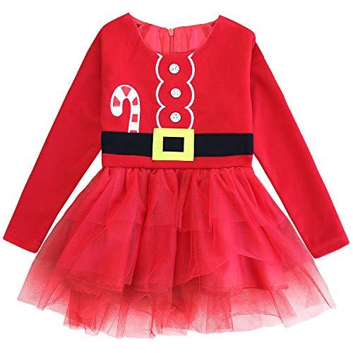 FANCYINN Kleine Weihnachts kostüm Kleinkind Prinzessin Tutu Kleid Party Kleidung 110
