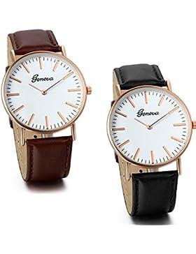JewelryWe 2pcs Damen Armbanduhr, Classic Sheffield Lady Analog Quarz Uhr mit Leder Armband, Braun Schwarz