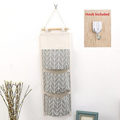 Over Door Hanging Organizer, Linen Farbric Wall Closet Storage Bag Case with 3 Pockets for Bedroom, Kitchen, Bathroom 51awlnGyEwL