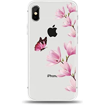 Freessom Coque Iphone 7 8 Silicone Fleurs Papillons Feuille
