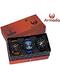 Armado Analog Combo Of 3 Analogue Blue:Black Dial Watches For Men - Ar-621251