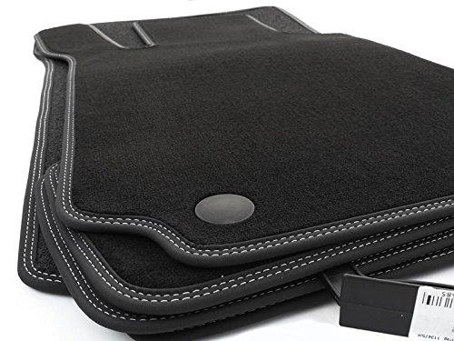 kh Teile Fußmatten W203 S203 Velours Premium Automatten, Schwarz Nubuk Doppelnaht Weiß Weiß