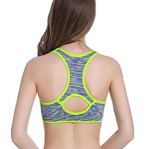 DELEY Donne Fitness Esercizio Azione Stiramento Jogging Yoga Antiurto Camuffamento Sport Reggiseno Verde
