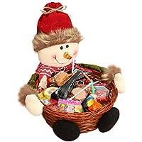 Cesta de almacenaje para Navidad de Keepwin, para caramelos o decoración, diseño de Papá Noel, muñeco de nievo, reno y elfo, bambú, muñeco de nieve, 18*18CM