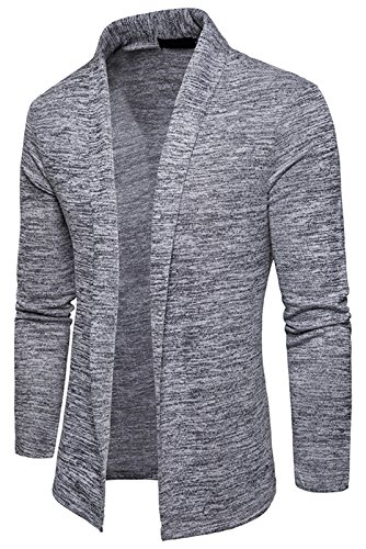 Whatlees Unisex Hip Hop Urban Basic Lang geschnittene Schlichte Strickjacke Cardigan B939-LightGray